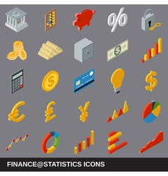 Financial statistics flat isometric icons vector image