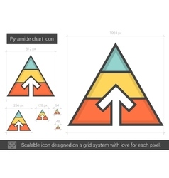 Pyramid chart line icon vector