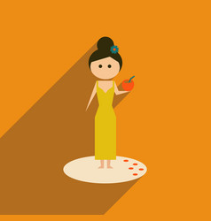 Flat web icon with long shadow girl cocktail vector