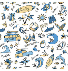 Surfing seamless pattern sketch for your design vector