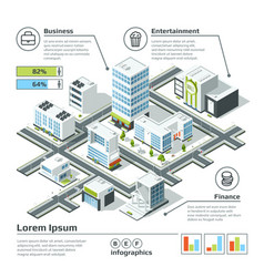 isometric 3d city map infographic vector image