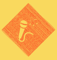 Microphone sign with music notes  red vector