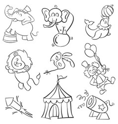 doodle of element circus various vector image