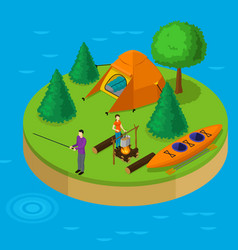 Isometric water active recreation concept vector