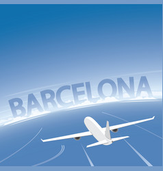 Barcelona skyline flight destination vector