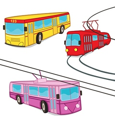 Trolleybus tram bus isolated vector