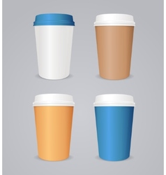 Colorful coffee paper cup set vector
