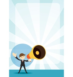 Businessman with megaphone announcement background vector