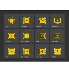 Cpu central processing unit icons vector