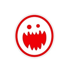 Sticker bright monster with sharp teeth on a white vector