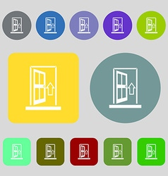 Door enter or exit icon sign 12 colored buttons vector