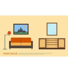Living room with furniture minimalism flat style vector