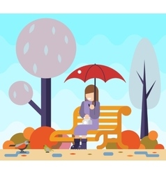 Happy girl sit bench watch birds puddles umbrella vector