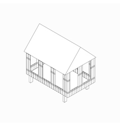 Stilt house icon isometric 3d style vector image