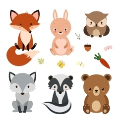 Set of cute woodland animals isolated on white vector