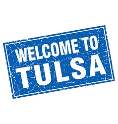 Tulsa blue square grunge welcome to stamp vector