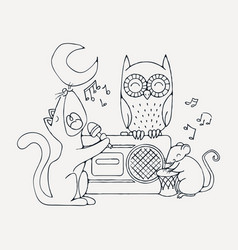 Animal musical band cat rat and owl vector