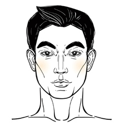 Asian descent mans head template vector
