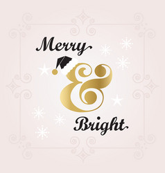 black and golden merry bright holiday decoration vector image