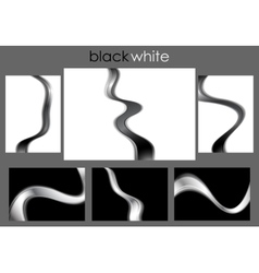 Black and white abstract waves collection vector