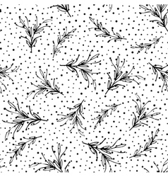 Black and white floral minimal simple seamless vector image