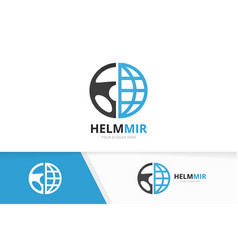 Car helm and planet logo combination vector