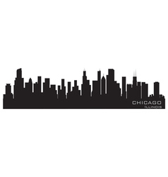 chicago illinois skyline detailed silhouette vector image vector image