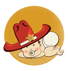 Cowboy little baby with big western sheriff hat vector