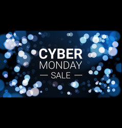 cyber monday sale flyer design with white lights vector image