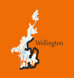 Detailed flat map of wellington new zealand vector