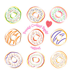 donut line drawing set isolated on white vector image vector image