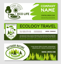 Eco tourism and green travel banner template set vector