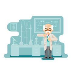 experiment old wise smart scientist chemical vector image