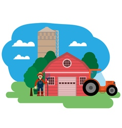 Farm farmer and tractor vector