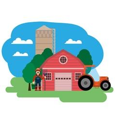 Farm farmer and tractor vector