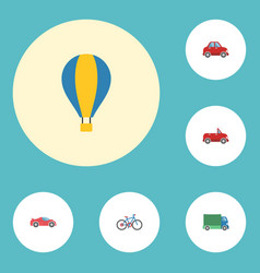 flat icons luxury auto lorry airship and other vector image vector image