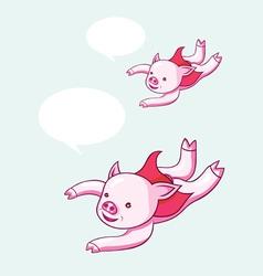 Flying pig cartoon vector image