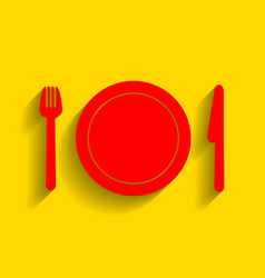 fork plate and knife red icon with soft vector image vector image