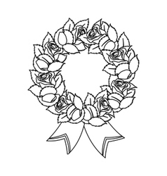 Funeral wreath icon in outline style isolated on vector