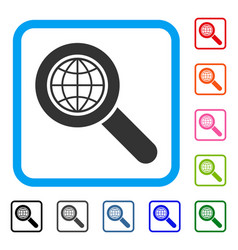 Global search framed icon vector