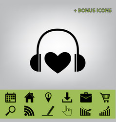 Headphones with heart black icon at gray vector