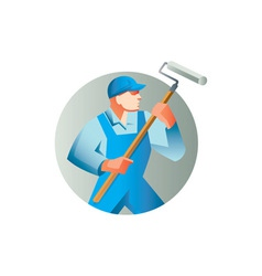 House painter holding paint roller circle retro vector