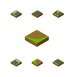 Isometric way set of turning footer turn and vector