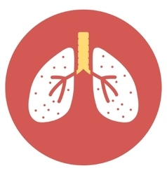 Lungs Flat Round Icon vector image