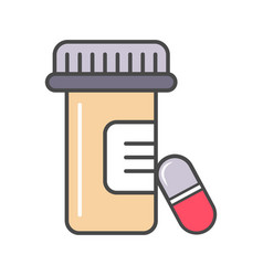 Medical tablet container linear icon vector