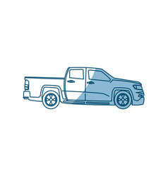Pickup truck vehicle transport side view - shadow vector