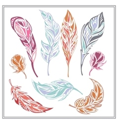Set feathers different colors vector image vector image