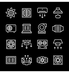 Set line icons of ventilation vector