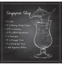 The singapore sling cocktail on black board vector