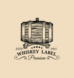 Whiskey logo sign with wooden barrel vector
